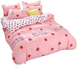 Kimko Girls Strawberry Bedding Set- Kids Reversible Red Strawberry Pattern & White Cover -4Pcs -1 Duvet Cover Set + 1 Bed Sheet + 2 Pillowcases (Queen, Strawberry)