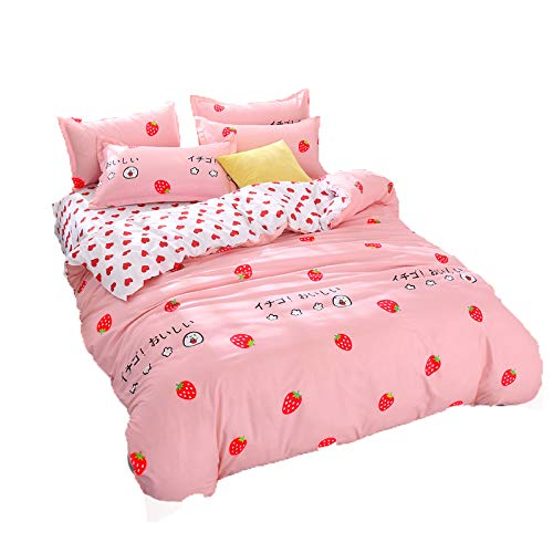 Kimko Girls Strawberry Bedding Set Teens Reversible Red Strawberry Pattern & Pink Home Cozy Comforter Cover -4Pcs -1 Duvet Cover Set + 1 Flat Sheet + 2 Pillowcases (Twin, Strawberry)
