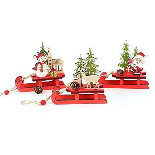 UFLF 3 Stück Weihnachtsdeko Holz Mini Weihnachtsschlitten Deko Weihnachten Miniatur Holzschlitten mit Rentier Weihnachtsmann Schneemann Weihnachtsschmuck Weihnachten Ornamente Tischdeko
