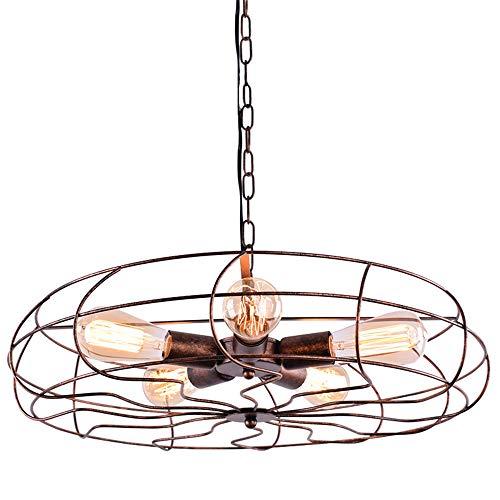 RUNNUP Ventilador industrial Lámpara colgante de iluminación de techo Vintage 5 luces...