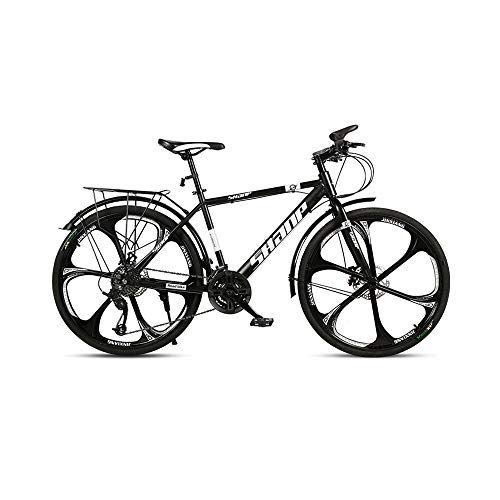 GYZLZZB Six Cutter Wheels Adult 26 Inch 21-Speed Bicycle Full Suspension Gears Dual Disc Brakes Mountain Bicycle, High-Carbon Steel Outdoors Mountain Bike with Shelves and Fenders(Black)