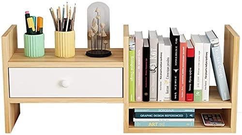 Estante Estanteria Libreria Escritorio Expandible con Cajón Librería de Escritorio de Bambú Estantería de Archivos Estantería de Mesa for Oficinas Caseras Exposición