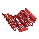 Relaxdays Caja de herramientas vacía con 5 compartimentos, con asa, metal, se puede cerrar, 21 x 53 x 20 cm, color rojo
