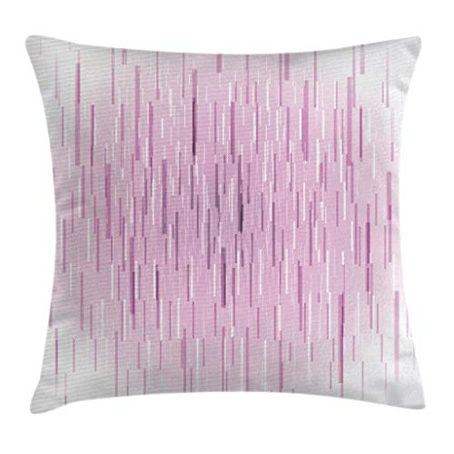 Magenta Throw Pillow Cojín, Trippy Falling Digital Lines Meteor Shower Cyber ​​Technology Obra de arte en segundo plano, Funda de almohada decorativa cuadrada decorativa, 45x45cm, Blanco rosa