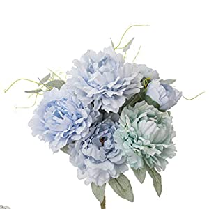Yongyue Springs Flowers Artificial Silk Peony Bouquets Wedding Home Decoration,Pack of 1