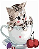 Gofission Paint by Numbers Cat Kitten Animal Cherry Cup - Kit de pintura para números (40,6 x 50,8 cm, sin marco)