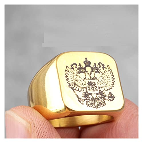 JIAQ Doble Cabeza águila Rusa National Emblem Hombres de Acero Inoxidable for Hombre for Hombre Boyfriend Biker Joyería Creatividad Regalo (Main Stone Color : R488-Gold, Ring Size : 11)