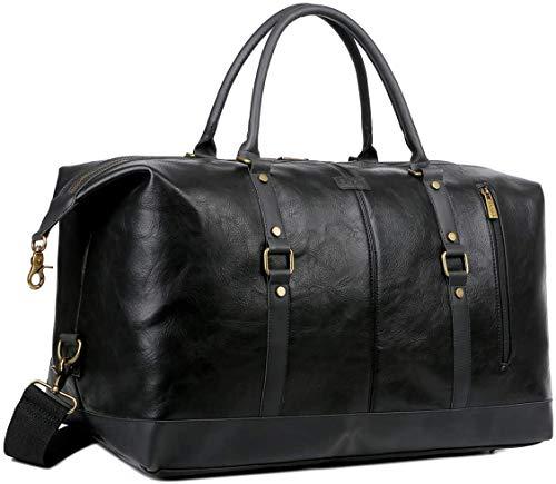 BAOSHA Leather Travel Duffel Tote Bag Overnight Weekender Bag Oversized for Men and Women HB-14 (Black)