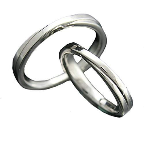 [ココカル]cococaru ペアリング 2本セット K18 ホワイトゴールド 結婚指輪 日本製 (レディースサイズ15号 メンズサイズ20号)