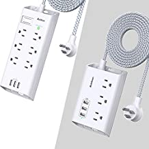 Power Strip Surge Protector, Addtam 6 Outlets and 3 USB Ports 5Ft Long Extension Cord + Power Strip with USB, Addtam ETL Certificate Flat Plug Extension Cord with 3 USB Ports, 3 Widely Spaced Outlets