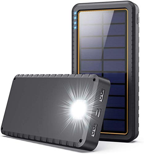 Yacikos Batería Externa 26800mAh Cargador Solar Carga Rápida Power Bank con 2 Entrada Puerto [Tipo C & Micro USB] + 2 Salida Puerto + Linterna LED de 3 Modos para Smartphones, Tabletas y Al Aire Libre