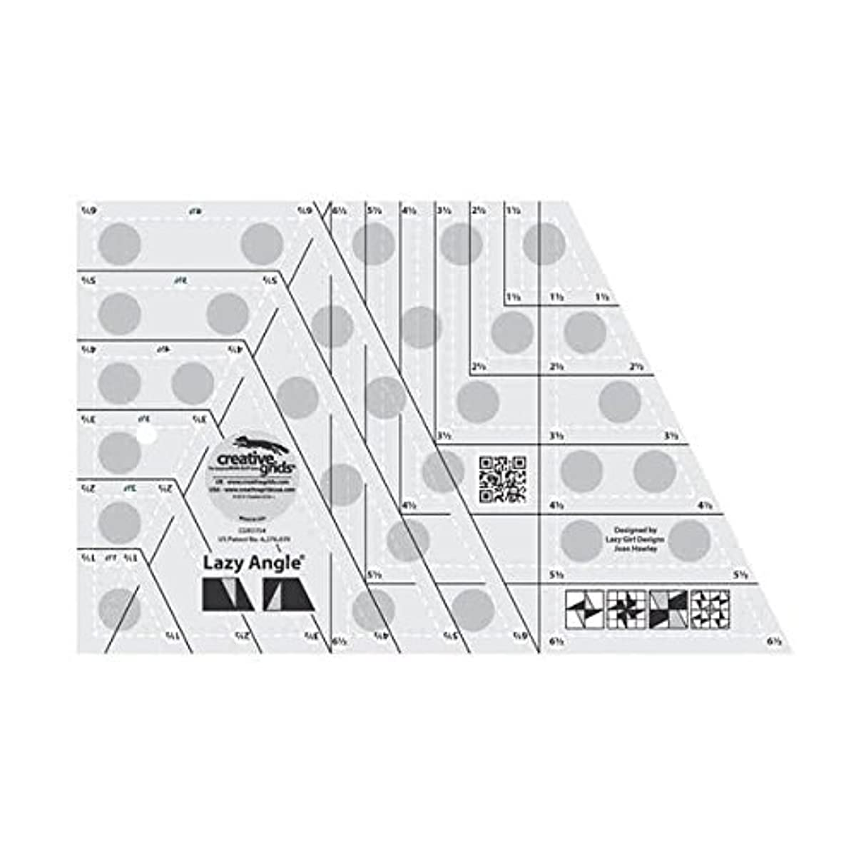 Creative Grids Lazy Angle Quilting Ruler Template CGR3754