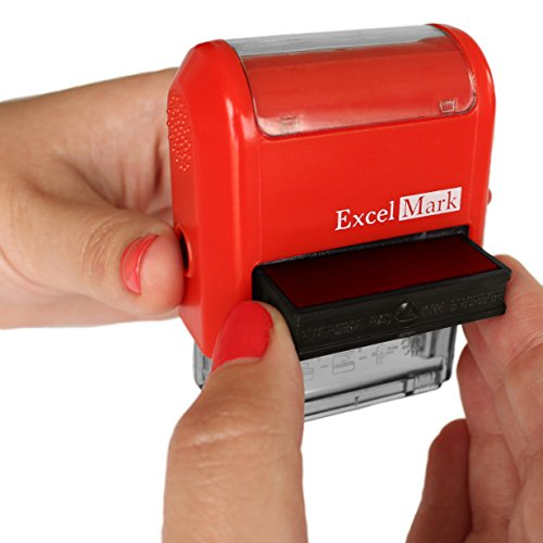 Sign HERE - ExcelMark Self-Inking Two-Color Rubber Office Stamp - Red and Blue Ink Photo #2