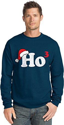 Hanes Men's Ugly Christmas Sweatshirt,Ho Cubed/Navy,XX-Large