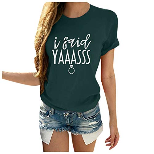 KIMODO Valentinstag Bekleidung Frauen Plus Size Kurzarm T-Shirt Print Rundhals Bluse Sommer Mode Wild Oberteile Blusen Elegant Bequem Lose Oberteil Tops (A-Grün, S)