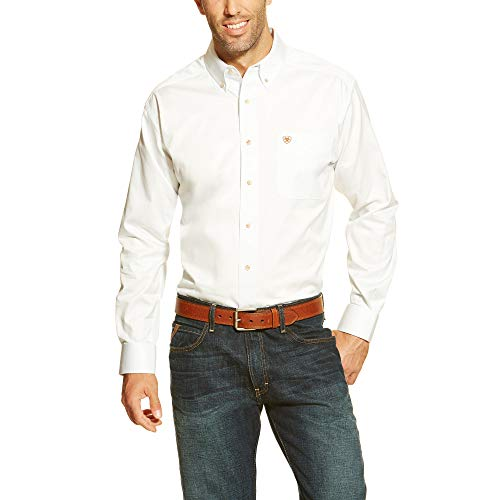 Ariat Men's Solid Twill Shirt, White, Small