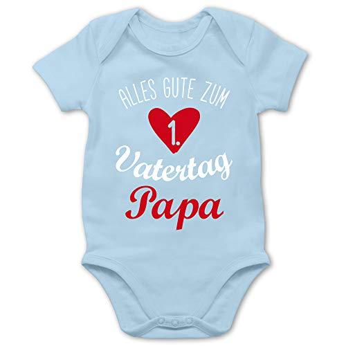 Shirtracer Vatertagsgeschenk Tochter & Sohn Baby - Alles Gute zum ersten Vatertag weiß - 1/3 Monate - Babyblau - Vatertagsgeschenk Baby - BZ10 - Baby Body Kurzarm für Jungen und Mädchen