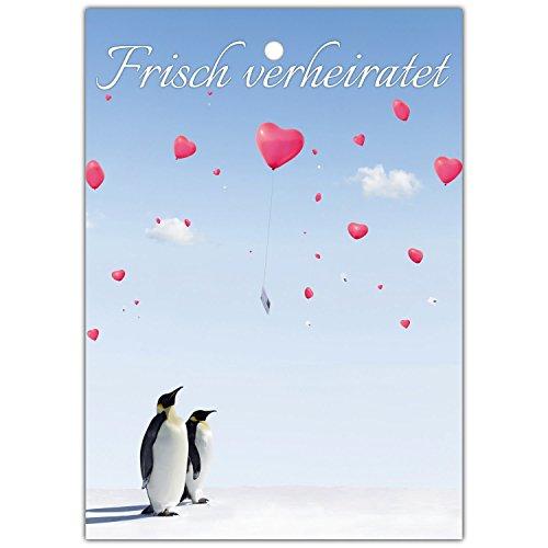 75 Ballonflugkarten zur Hochzeit PINGUINE - gelocht und extra leicht für einen langen Flug als Hochzeitsspiel Ballonkarten Postkarten von BREITENWERK