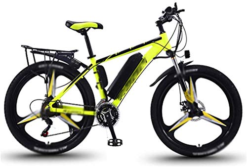 WJSWD Bicicleta de nieve eléctrica, bicicleta eléctrica de 26 pulgadas, aleación de magnesio 36 V, 13 A, 350 W, cambio de potencia, batería de litio para adultos, para adultos (color: amarillo)
