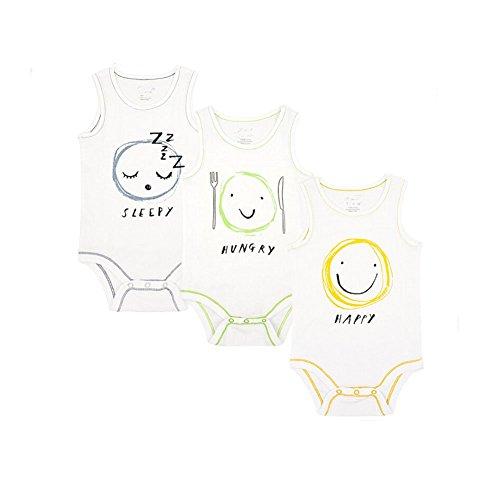 CuteOn Unisexe Bébé Enfant 100% Coton Poids léger Sans manches Bodys,3 paquet Émotion 12 Mois