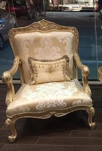 Casa Padrino sillón Barroco de Lujo Oro/Oro Antiguo - Magnífico sillón de salón con patrón Elegante - Muebles de salón barrocos