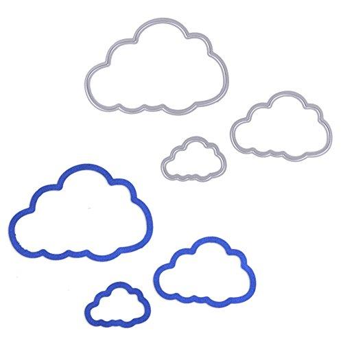 Demiawaking 3Pcs Metall Wolken Form Stanzschablonen Metall Schneiden Schablonen für DIY Scrapbooking Album, Schneiden Schablonen Papier Karten Sammelalbum Dekor (20)