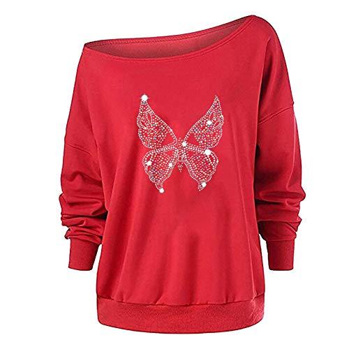 DAY8 Warm, bequem, trendy, hautfreundlich und langlebig Mode Damen lässig Langarm Schmetterling Druck Damen Sweatshirts Tops