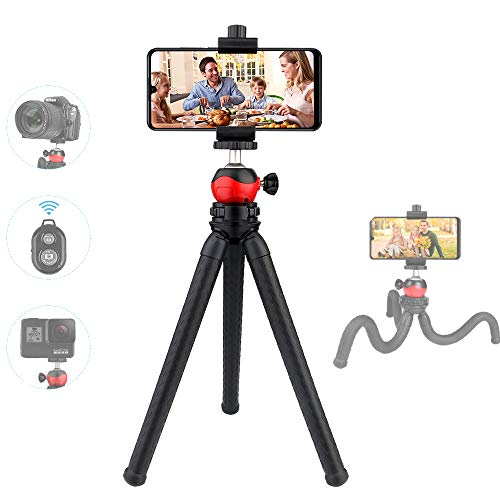 TOAZOE Flexible Phone Tripod, 12 Inch Mini Tabletop Tripod, Support Bluetooth Remote Control , Suit for iPhone Xs Max, Samsung, Huawei, Waterproof Tripod for Camera.