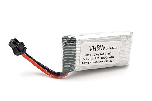 vhbw Batería de Li-Ion 1000mAh (3.7V) para helicóptero Zoopa 300, 300 Movie Helicopter AA0300, AA0300-A, AA0302