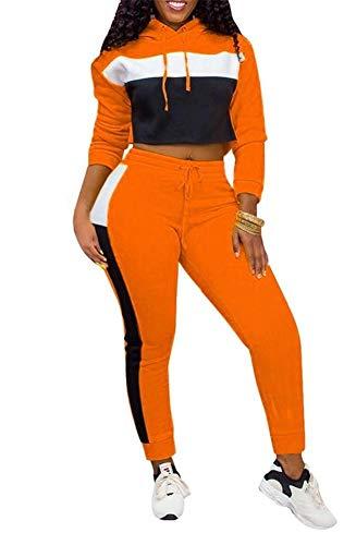 EOSIEDUR Women Casual Tracksuit 2 Piece Zip Top and Elastic Waistband Pant Women Sweatsuit Tracksuit Set Orange