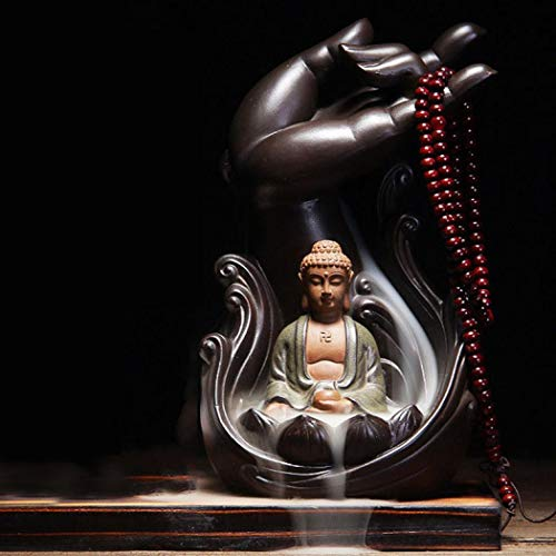 Buddha Lotus Hand Backflow Incense Burner, Home Ceramic Backflow Zen Incense Holder Burner with 10pcs Incense Cone (Buddha)