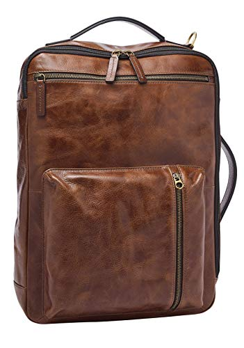 Fossil Buckner - Convertible Backpack in Brown Eco Leather for Men MBG9520222