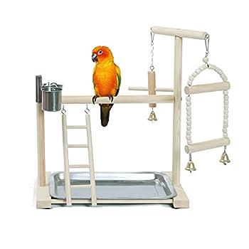 NAKLULU Aire De Jeu pour Perroquet Aire De Jeu Oiseau,Aire De Jeux d'oiseaux avec Cloches Et Balançoires,Une Seule Couche