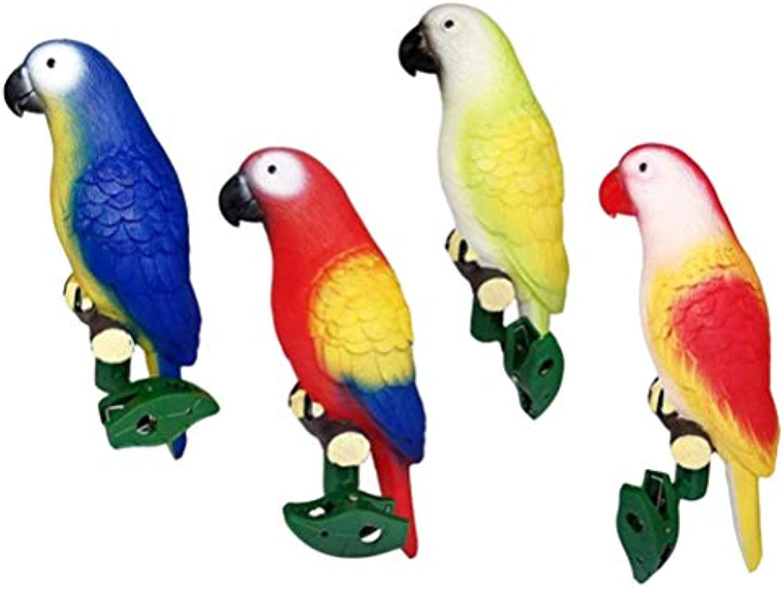 OSALADI 4Pcs LED Solar Papagei Lichter Vogel Form Nachtlampe kreatives Licht mit Clip für Rasen Garten Hof