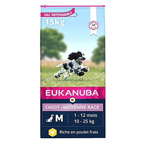 EUKANUBA - Croquettes pour chiot de Race Moyenne - 100% complet et équilibré. SANS arôme artificiel ajouté, colorant artificiel ajouté. Riche en poulet - calcium fibres FOS DHA – sac fermable de 15kg