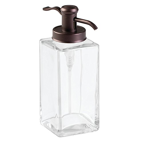 Price comparison product image iDesign Bathroom Vanities Casilla Traditional Soap Dispenser Pump for Kitchen,  Glass,  Clear / Bronze