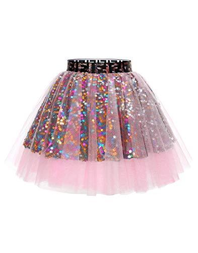 MuaDress Mini Tüllrock Shimmer Glam Pailletten verziert Tutu Sexy Festliche Kostüm Rosa XS