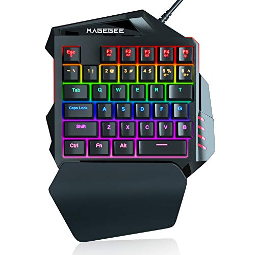 One-Handed RGB Mechanical Gaming Keyboard, 35 Keys Rainbow Backlit Wired Keyboard, Black Switches, Support Wrist Rest, Portable Mini Gaming Keypad with Programmable Keys Macro Recording