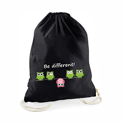 Statement-Turnbeutel Be Different! - Gym-Bag Rucksack Hipster Beutel mit Spruch Tasche Jutebeutel Gymsac Sportbeutel