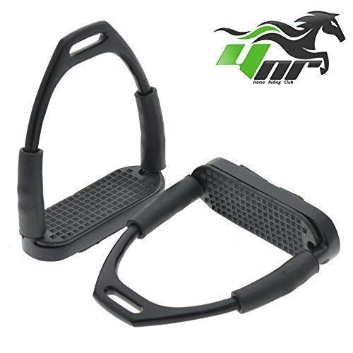YNR ® Flexible Safety Stirrups Horse Riding Bendy Flexi Stirrups Irons S. Steel Black 4.75