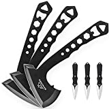 BANORES Hawkeye Throwing Axes Throwing Knives Set with 10 inch Full Tang Stainless Steel, Nylon Sheath 3 Pack