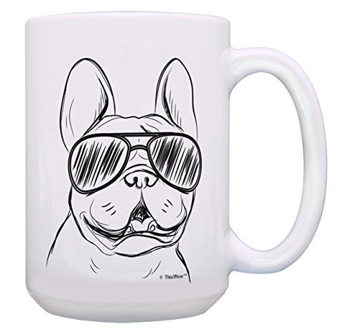 Dog Cup French Bulldog Sunglasses Mug French Bulldog Mug Frenchie Gift 15-oz Coffee Mug Tea Cup White