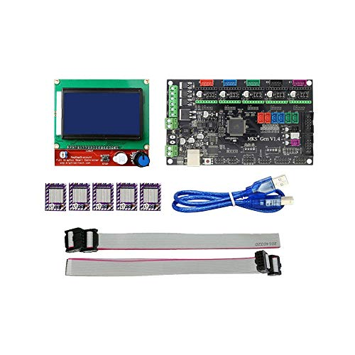 Nadalan Scheda di controllo della stampante 3D MKS Gen V1.4 RAMPS compatibile 1.4 + Display LCD 12864 + 5pcs Driver DRV8825 (Scheda controller + display LCD + driver)