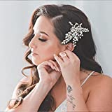 Aukmla Pettine per capelli da sposa in argento, con cristalli e strass, accessorio per cap...