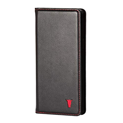 TORRO Handyhülle Kompatibel mit Samsung Galaxy S10 hochwertiges Leder mit [Karten Steckfächern] [Horizontale Standfunktion] [strapazierfähiger Rahmen] 6.1 Zoll Ausgabe 2019 (Schwarz)