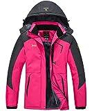 Gopune Women's Snow Jacket Waterproof Ski Jackets Winter Hooded Mountain Fleece Jacket (Rose Red,M)