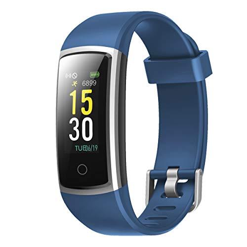 CHEREEKI Pulsera Actividad, Pulsera de Actividad con Monitor Ritmo Cardíaco Medición de la presión Arterial IP68 Podómetro Pulsera Deportiva(14 Actividad Modos) (Blue)
