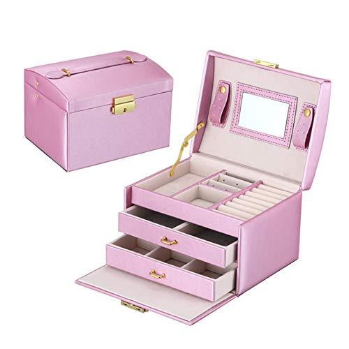 WUHUAROU Cajas de Embalaje de joyería Grandes Armario Vestidor con Cierres Organizador de Anillos de Pulsera Estuches de Transporte con 2 cajones 3 Capas (Color : Purple)