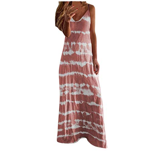 Buy Discount Toimothcn Women's Camis Long Dress Spaghetti Straps Striped Printed Loose Casual Maxi D...