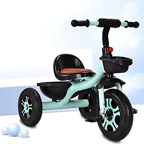 Triciclo Bebe Triciclo,Triciclo Multifuncional for Niños,Triciclo Exterior for Bebés De 2 A 6 Años Diseño De Almacenamiento Grande,Titanio Vacío,3 Colores (Color : Green)